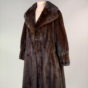 Brown mink fur long coat